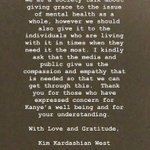 Image for the Tweet beginning: Kim Kardashian's statement just posted