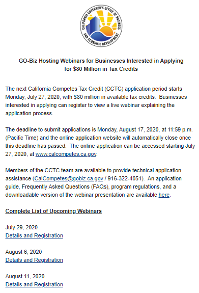 Here's some #WednesdayWisdom: Monday, July 27 kicks off the next application period for the CalCompetes Tax Credit! $80M available and businesses interested in applying can register to view a live webinar explaining the application process.  CLICK👉 https://t.co/rnqMVeqAGd https://t.co/XEOYTFzcxq