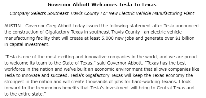 .@GovAbbott rolls out the red carpet for #Tesla and @elonmusk https://t.co/T7iaYnKzGC https://t.co/2XXiOCmTaF