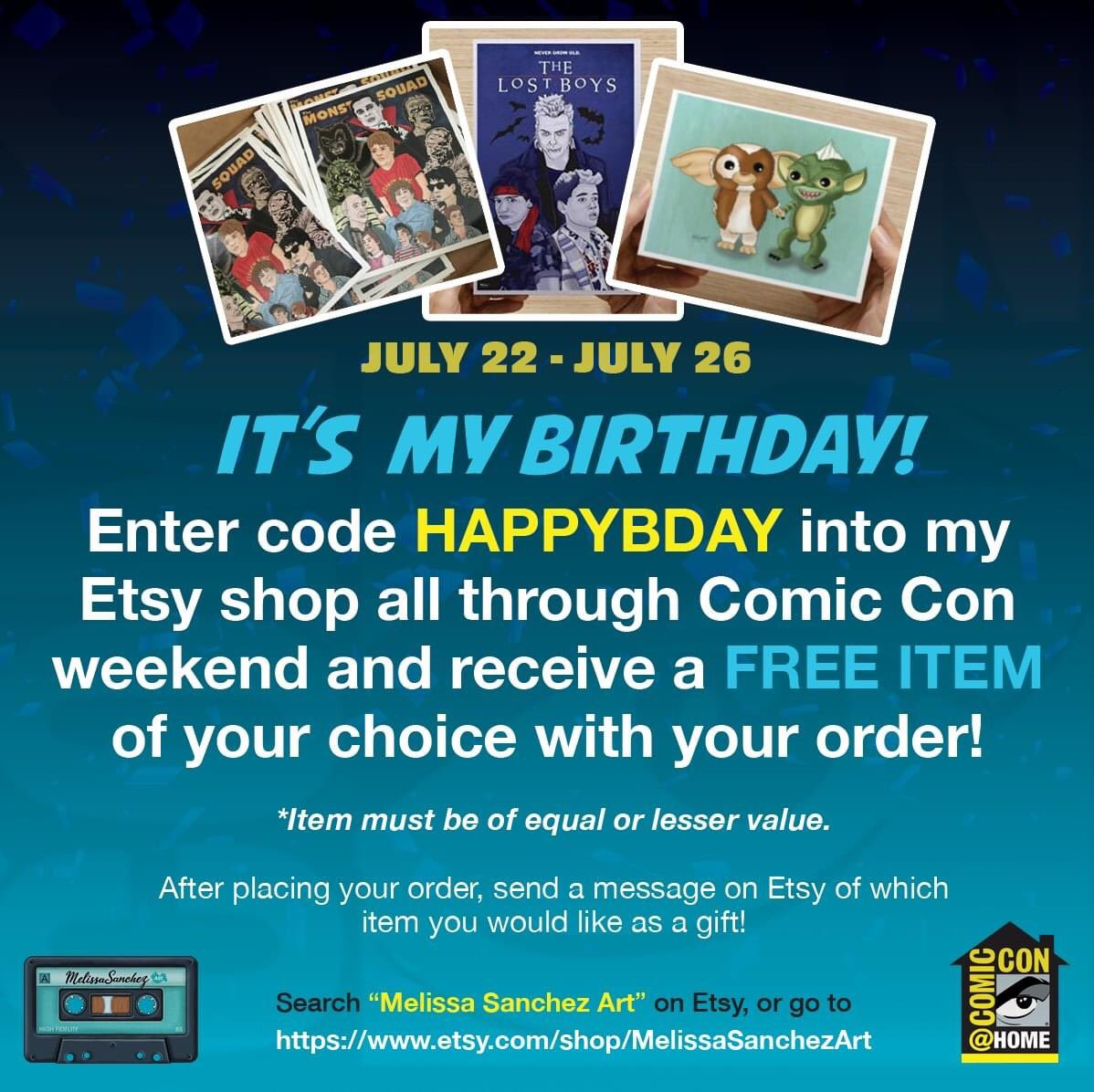 It's #SDCCatHome it's my birthday weekend! Let's all celebrate with this sweet deal going on over at my #etsyshop ! #melissasanchezart #art #SDCC #artistsontwitter #ComicCon https://t.co/GG6Y326NCl