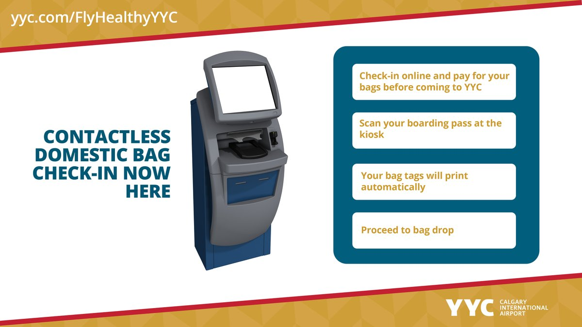 Contactless domestic bag 💼 check-in now arriving as part of #FlyHealthyYYC ✈️. Check-in and pay for your bags before coming to the airport and get your @WestJet @AirCanada bag tags - Now, 🚫 no-touch kiosks available. Visit https://t.co/FpdCBctpYn https://t.co/soiJJYw7xb