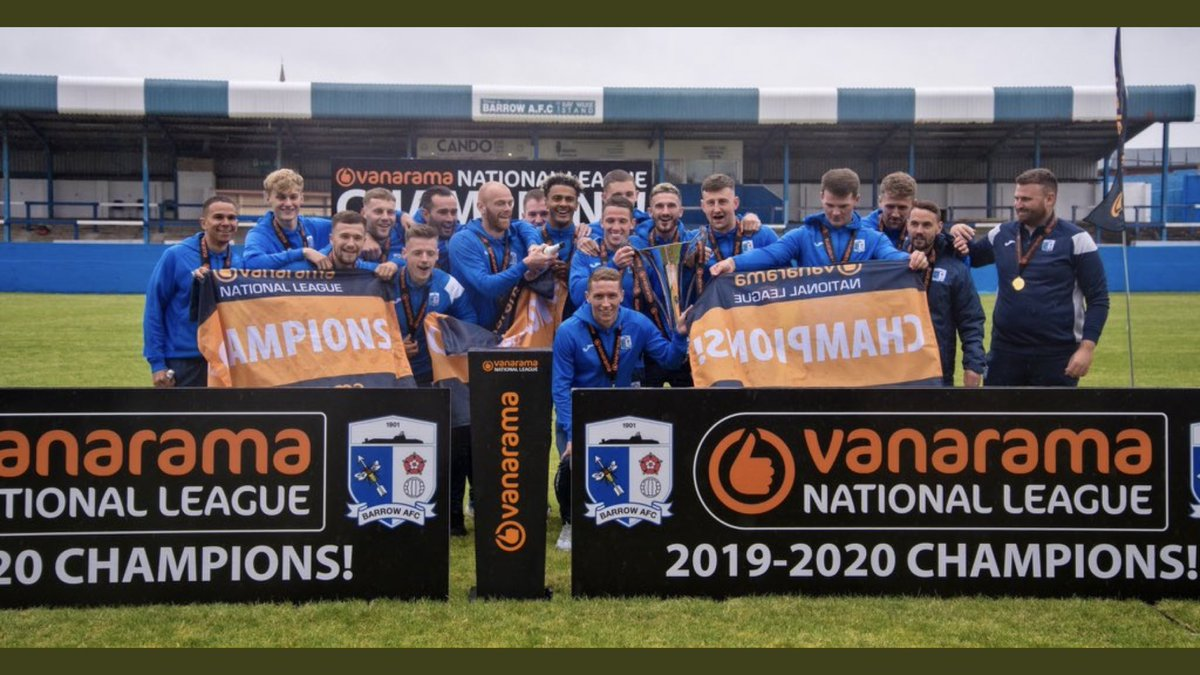 Replying to @Matty_Platt: Great to finally get our hands on it and celebrate with the lads 💙🏆 @BarrowAFC