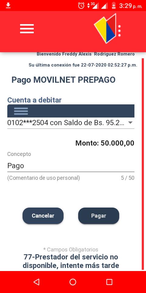 Falla de conexión Banco de Venezuela - Movilnet imposibilita recarga de saldos