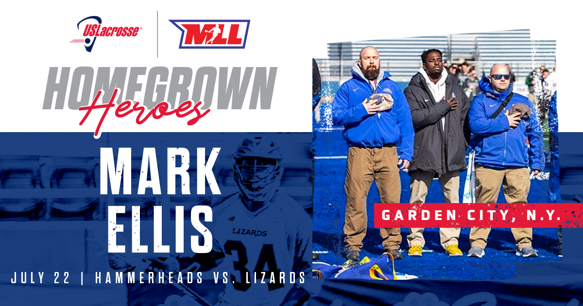 Mark Ellis is the Homegrown Hero of today's game between the Hammerheads and Lizards.  Ellis coaches at Garden City Middle School and uses his Masters Degree In Sport Science to help educate others  Support US Lacrosse & @MLL_Lacrosse in growing the game: https://t.co/rYC0ZFbOmE https://t.co/sgjAeTs6Dz