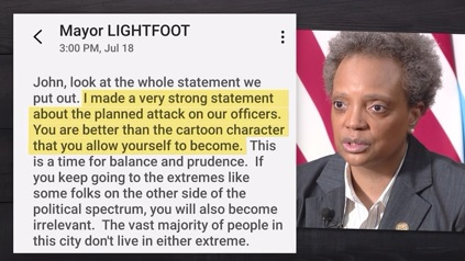 """YOU ARE NOW OFFICIALLY A CLOWN""   Mayor Lori Lightfoot's text messages w/police union president after violence in Grant Park reveal name-calling, frustration, anger. Today, the mayor said ""I don't take back one word that I said.""  I'll have the story tonight on @WGNNews at 9pm. https://t.co/T1SapNxrqV"