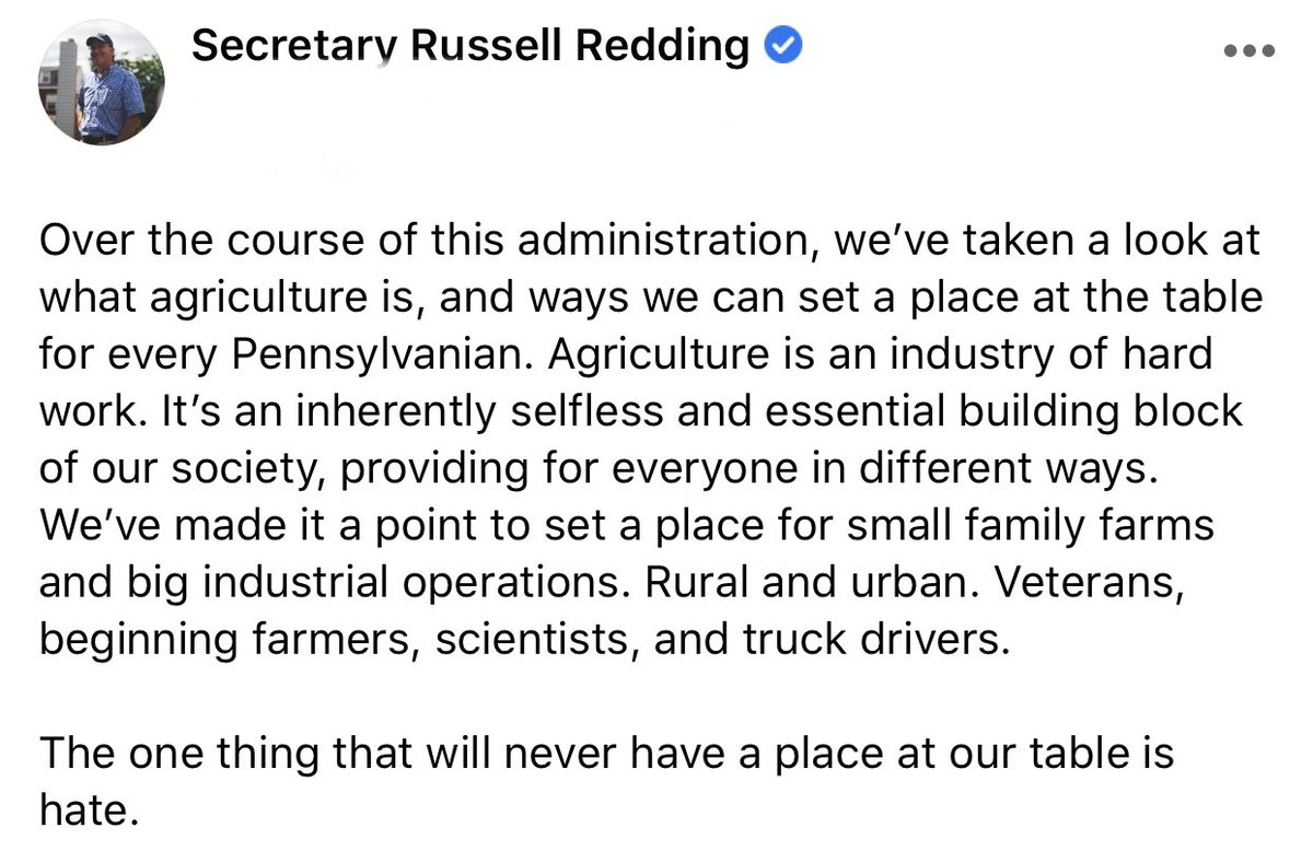 No place for hate here. Secretary Redding on Facebook: