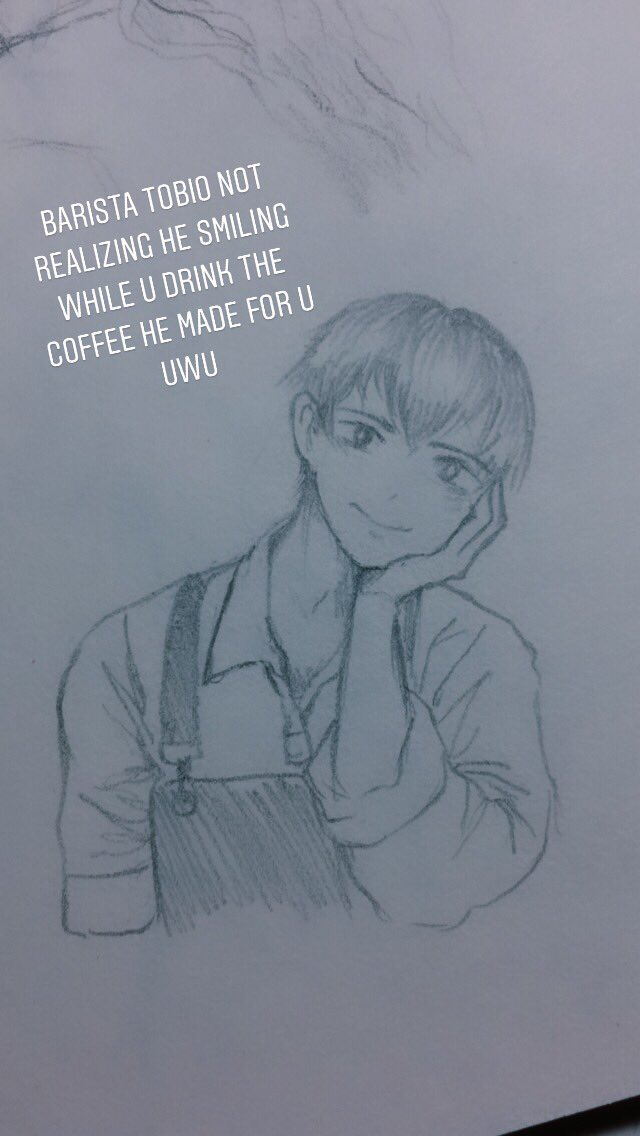 I was doodling a barista then I realized he looked like Kageyama so