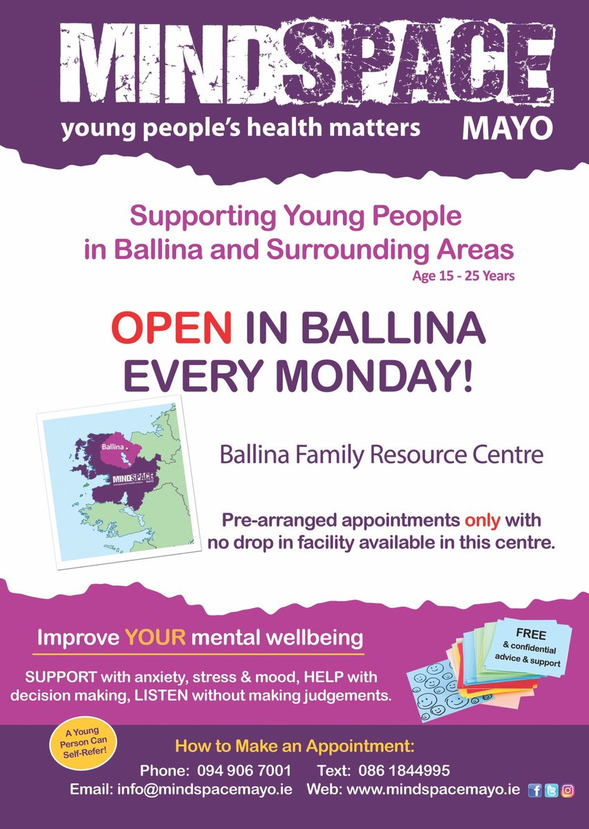 Face to Face appointments have now resumed in our outreach service in #Ballina. Supporting young people aged 15-25 in local communities in Ballina, Foxford, Crossmolina, Bonniconlon, Ardagh, Knockmore, Killala and others.  👉🏻https://t.co/NHNTXQu1Aq https://t.co/nFsEyWvFm6