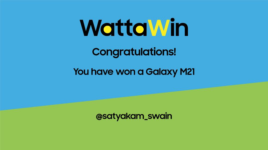#WattaMonster WattaWin! Congratulations to the winner of #GalaxyM21 Contest. DM us your contact details, and we'll get in touch with you soon. #SamsungM21 https://t.co/9uokGWwhgF