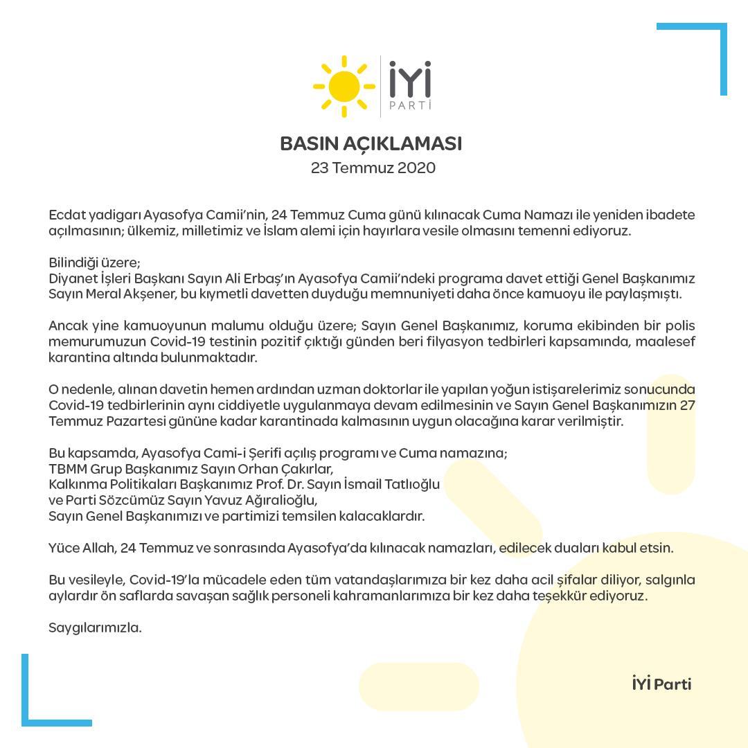 Ayasofya Camii'nin açılış programına dair basın açıklamamız. Kamuoyuna saygıyla duyururuz. https://t.co/bZUeCqvavA