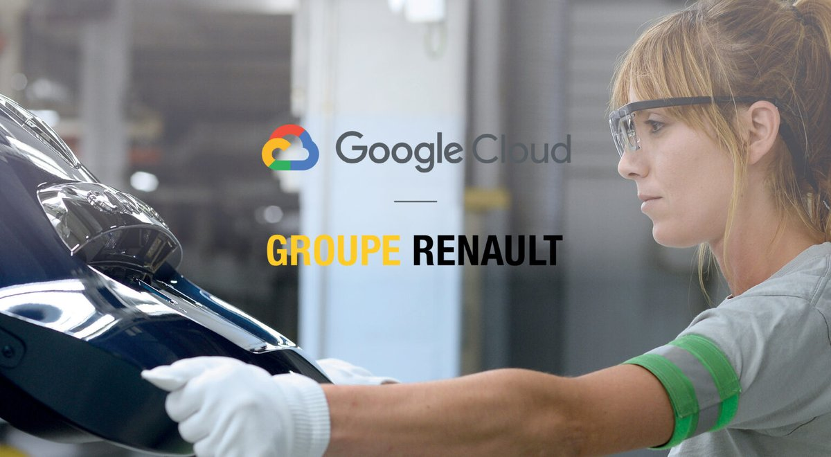 #Renault partners with #GoogleCloud to digitize their business & accelerate the implementation of its Industry 4.0 plans. With the partnership Renault aims to improve its production, supply chain & sustainability by using #Google Cloud's analysis, #MachineLearning & #AI services. https://t.co/G4BFx0HHzm