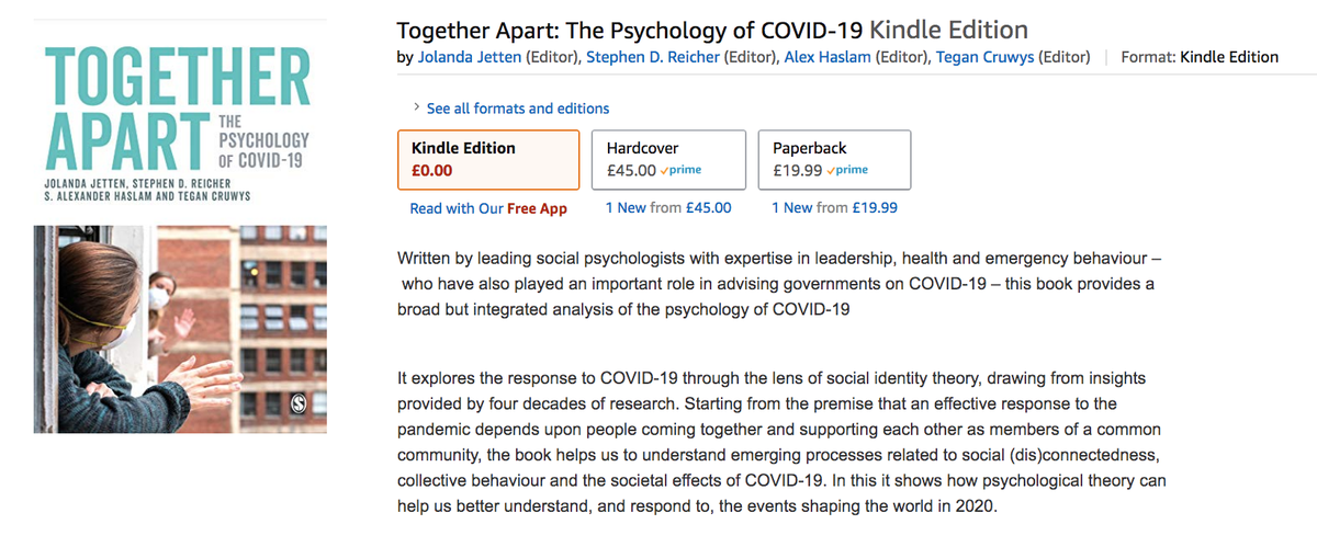 Our book on the Psychology of COVID-19 is now available FREE on Kindle.   If you want to join the dots on this topic, please download it. And please share this link with others.   There is a lot of science in here that we really need to share.  https://t.co/JaJrHScdcr https://t.co/ZuTOwfjtFM