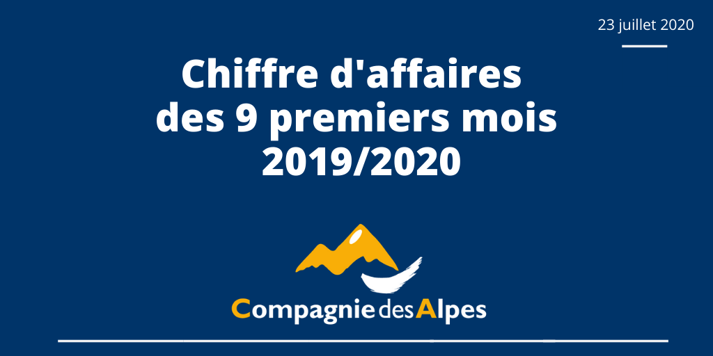 La @CieDesAlpes publie son chiffre d'affaires pour les 9 premiers mois de l'exercice 2019/2020. Pour télécharger le communiqué : > en français : https://t.co/GrGOdDWvsb > en anglais : https://t.co/E6Ge1BUFLP https://t.co/0JezfoFD1q