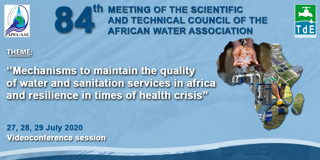 We are pleased to confirm that the Scientific and Technical Council of the African Water Association will be held from 27 to 29 July, 2020 by videoconference. Registration link :  https://t.co/tNIcL8cOHj https://t.co/Pf94nF4HE9