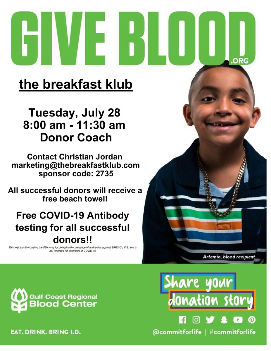 NEXT TUESDAY: Blood Drive @ The Breakfast Klub from 8am - 11:30am. Donate and save lives! All donors will receive a beach towel!   Reserve your time to make a donation using this link: https://t.co/lNR8dW5MLJ.  Use the Sponsor Code: 2735 #commit4life #gulfcostregionalbloodcenter https://t.co/y2aYy5R1Wq