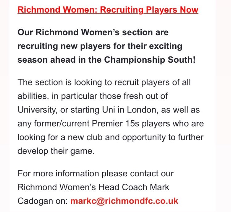Exciting times ahead if you want to be part of @RichmondFC1861 get in touch with Mark