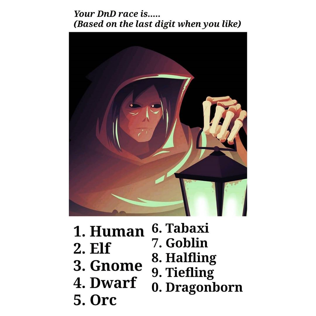 I'm a human, no surprise there.   What is your race?   Follow @allthingsdnd for more. #dndmemes #dndjokes #ttrpgmemes #rpgmemes #allthingsdnd #dungeonsanddragonsmemes #dnd#dungeonsanddragons5e #textpostaccount #textpost #textposts #textposttumblr #textpoststumblrpic.twitter.com/PQkipgUI0C