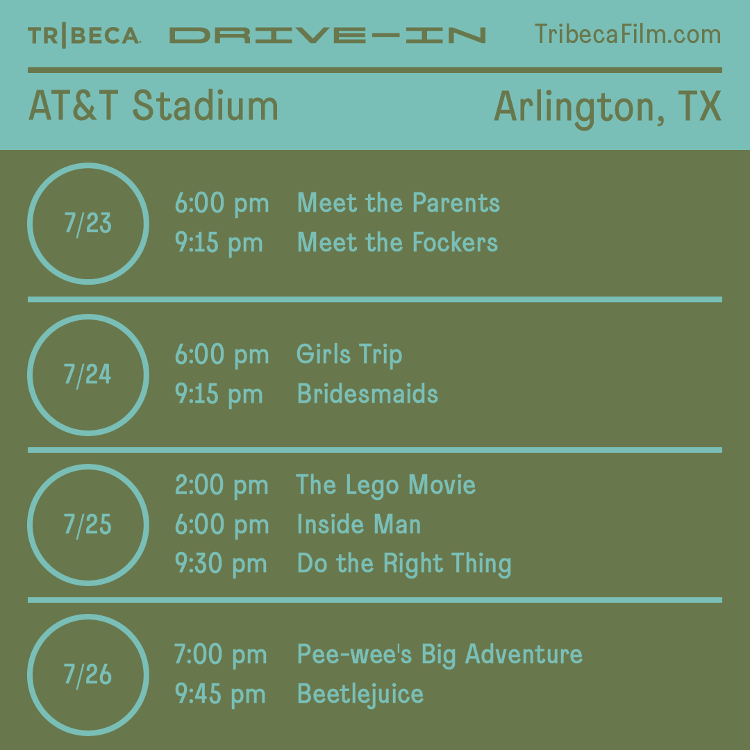 If you havent made it to the @Tribeca Drive-In this month, this weekend is your LAST CHANCE! 🎬 Finish out the #TribecaDriveIn at #ATTStadium with movies such as The Lego Movie and Beetlejuice Tickets are limited — get yours at TribecaFilm.com/drive-in/ATTSt…