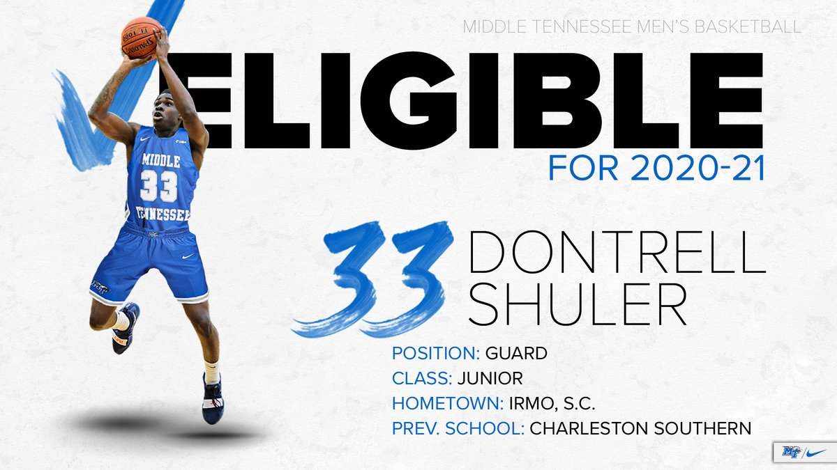 Charleston Southern transfer Dontrell Shuler, an 18 ppg scorer as a sophomore, is IMMEDIATELY ELIGIBLE for 2020-21!  #BlueRaiders 🔵⚪️⚡️ https://t.co/Lzp737TvGQ