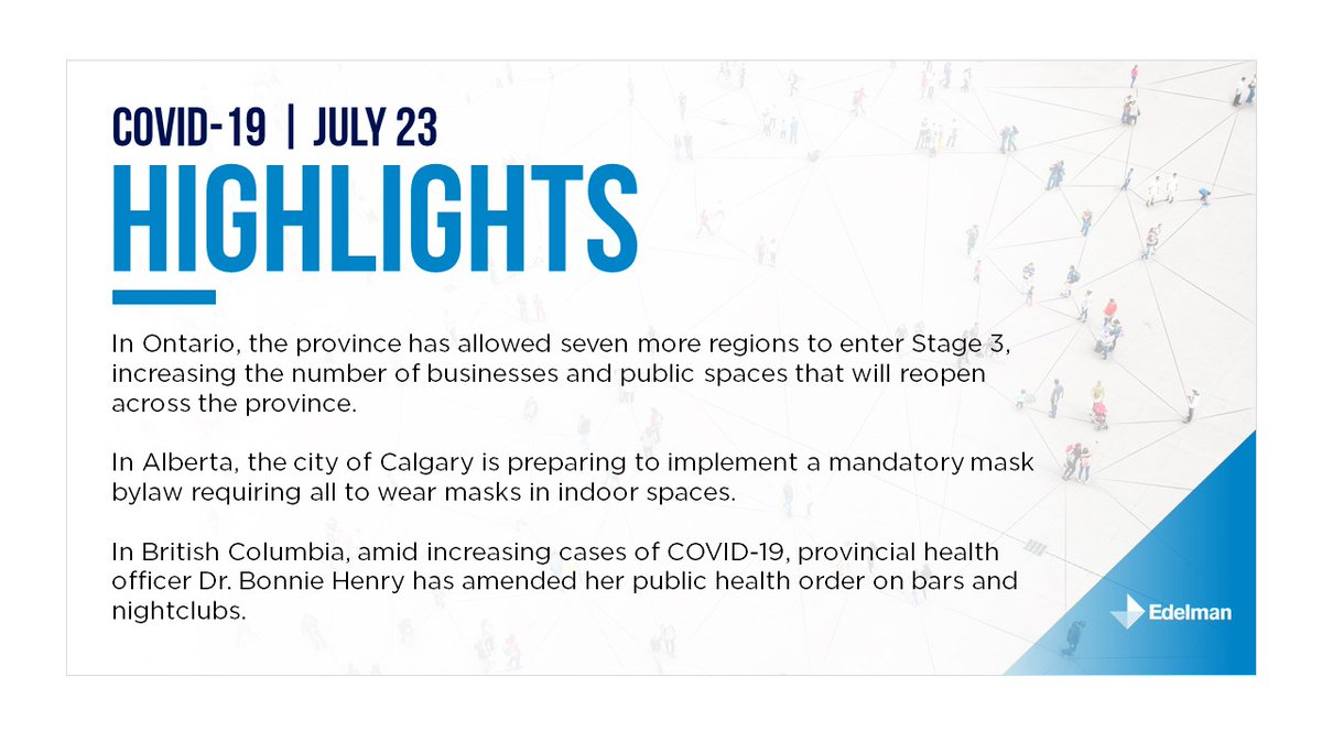 July 23: Today's edition of Edelman Canada's provincial summary. For the full briefing please download it here: https://t.co/SfCSpx7U7y https://t.co/hCMkK8oGjf