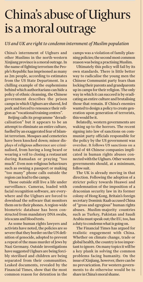 FT LEADER: China's abuse of Uighurs is a moral outrage #TomorrowsPapersToday