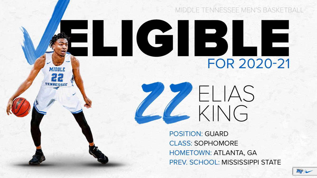 Mississippi State transfer Elias King, a consensus 4⃣⭐️ prospect in 2019, is IMMEDIATELY ELIGIBLE for 2020-21!  #BlueRaiders 🔵⚪️⚡️ https://t.co/psSVY7834G