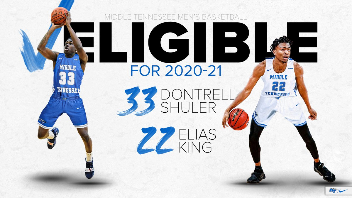 Incoming transfers Elias King and Dontrell Shuler have been granted immediate eligibility for the 2020-21 college basketball season!  📝 https://t.co/KpTuG6P7Cu  #BlueRaiders 🔵⚪️⚡️ https://t.co/KShzestnap