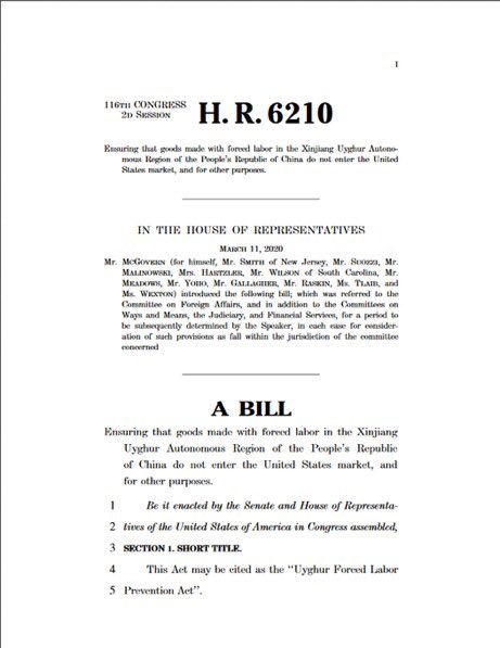 The Chairs introduced the #UyghurForcedLaborPrevention Act (H.R. 6210 / S. 3471) to stop import of forced labor made goods from #Xinjiang, requiring companies to prove their imports to the US are made w/out forced labor. congress.gov/116/bills/s347… #EndUyghurForcedLabour