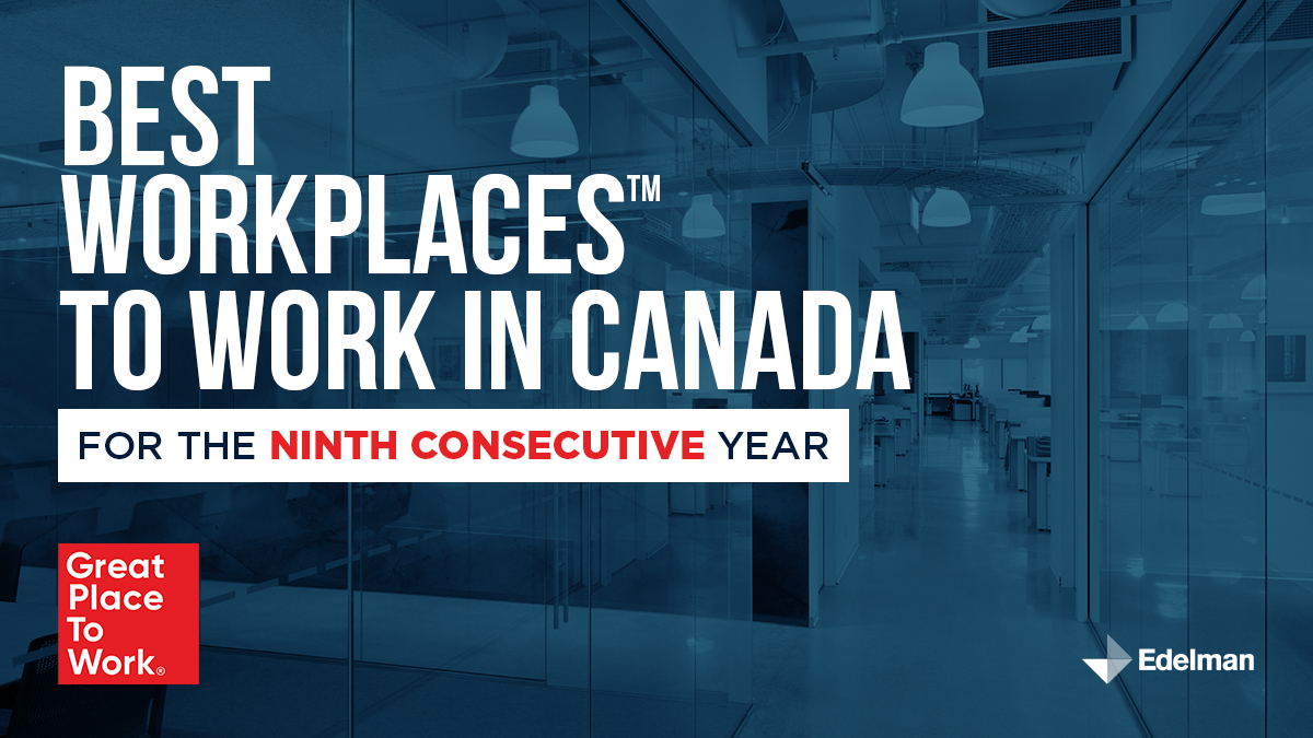 Thrilled to share Edelman Canada has been recognized for five additional Best Workplace awards, including: Best Workplaces in Canada, Mental Health, Ontario, Professional Services, and Inclusion. Congratulations to our wonderful Canadian team! https://t.co/nWVQSXOPE3