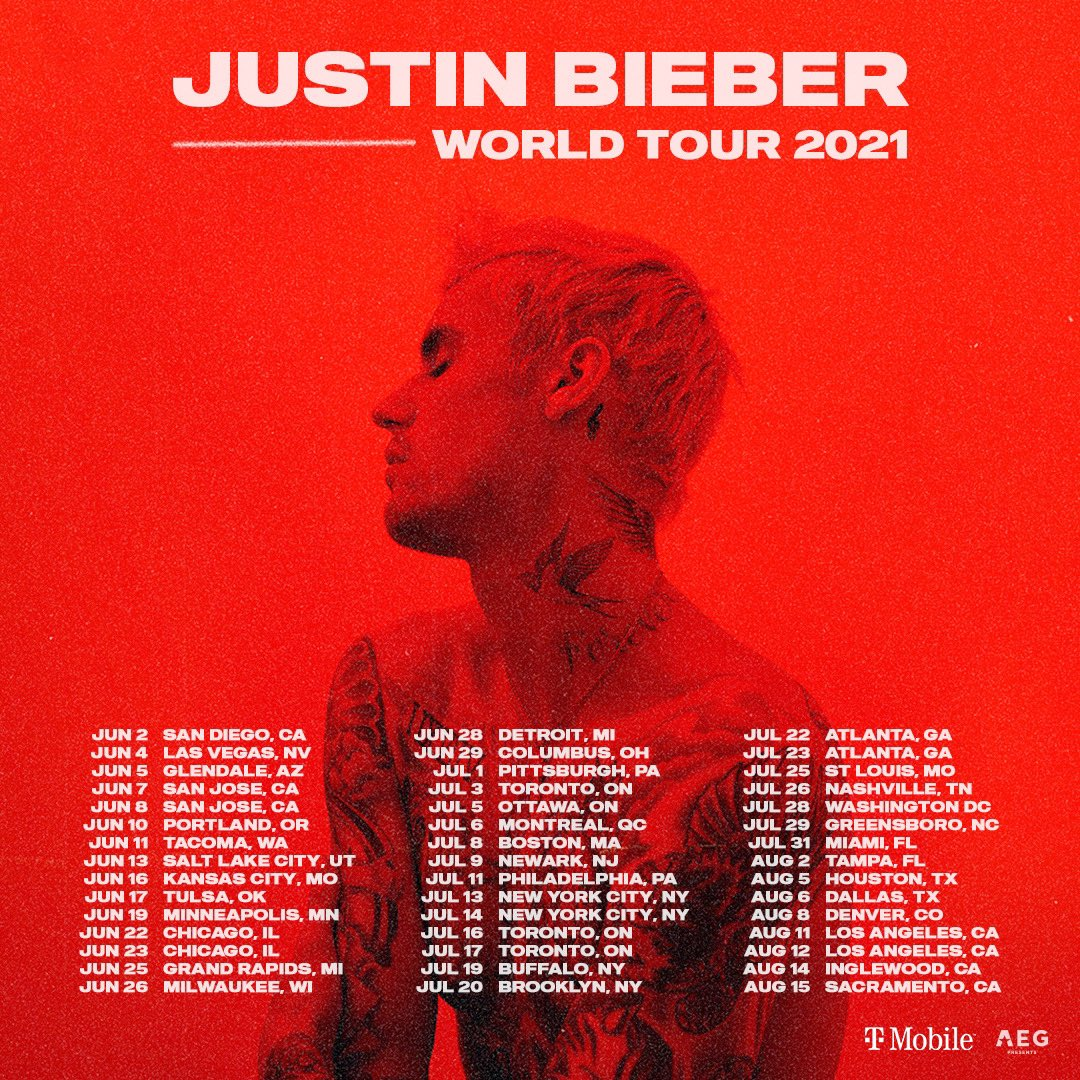 "Justin Bieber on Twitter: ""New world tour dates for 2021. Looking ..."