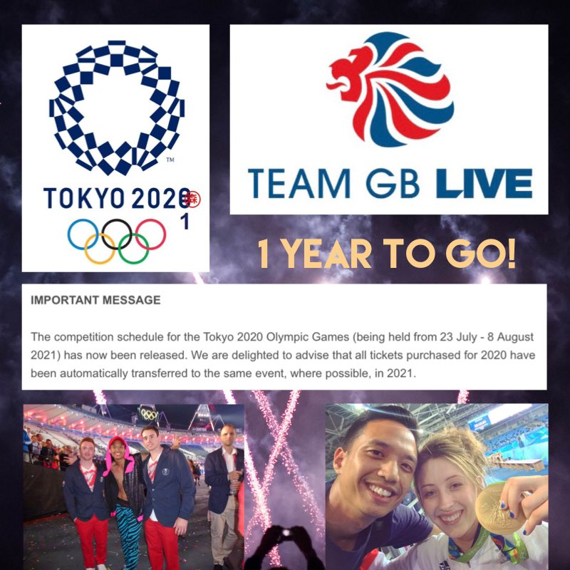 1 Year To Go, 2021 it is then! Supposed to be at @Tokyo2020 🇯🇵 Olympics right now, thanks @TeamGB 🇬🇧 for transferring my tickets ☺️  Would be my 3rd Olympics in a row after performing in Closing Ceremony @ seeing GB success at London 2012, watching the Gold 🏅rush at Rio 2016 🇧🇷 https://t.co/4XVdeJ1r7A
