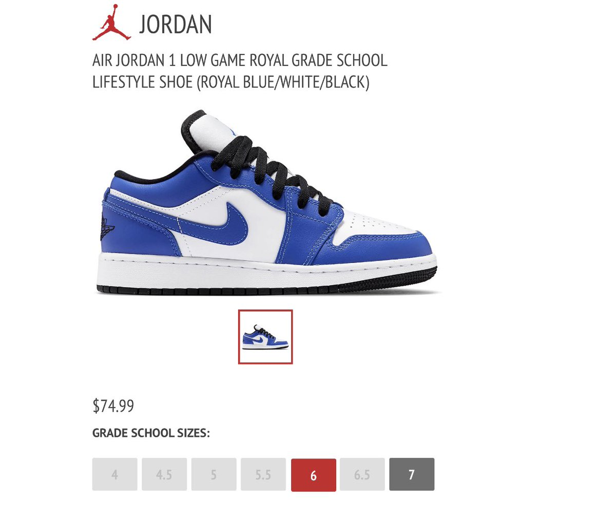 Snkr Twitr On Twitter Sizes 6 7 Gs Jordan 1 Low Game Royal Https T Co Drwwb5ok0e Ad