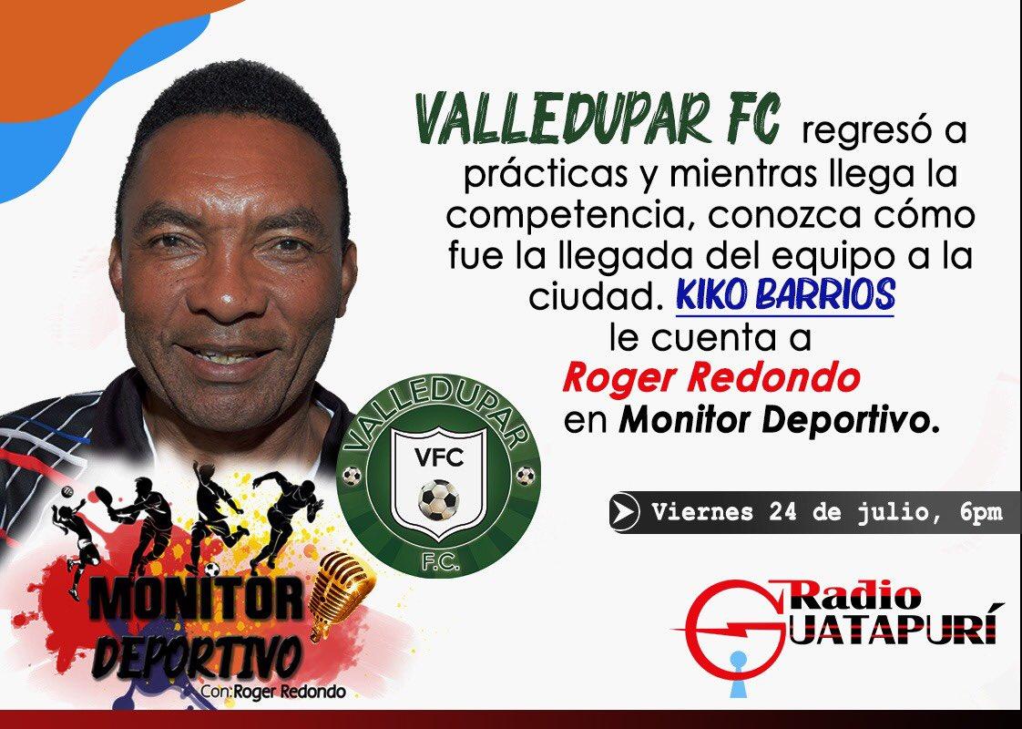 No te pierdas nuestra emisión de mañana, tendremos al gran Kiko Barrios hablando de la llegada del #VFC a la ciudad, entre otras cosas. #MonitorDeportivo por @RadioGuatapuri desde las 6:00pm https://t.co/p2FJuoBB6F