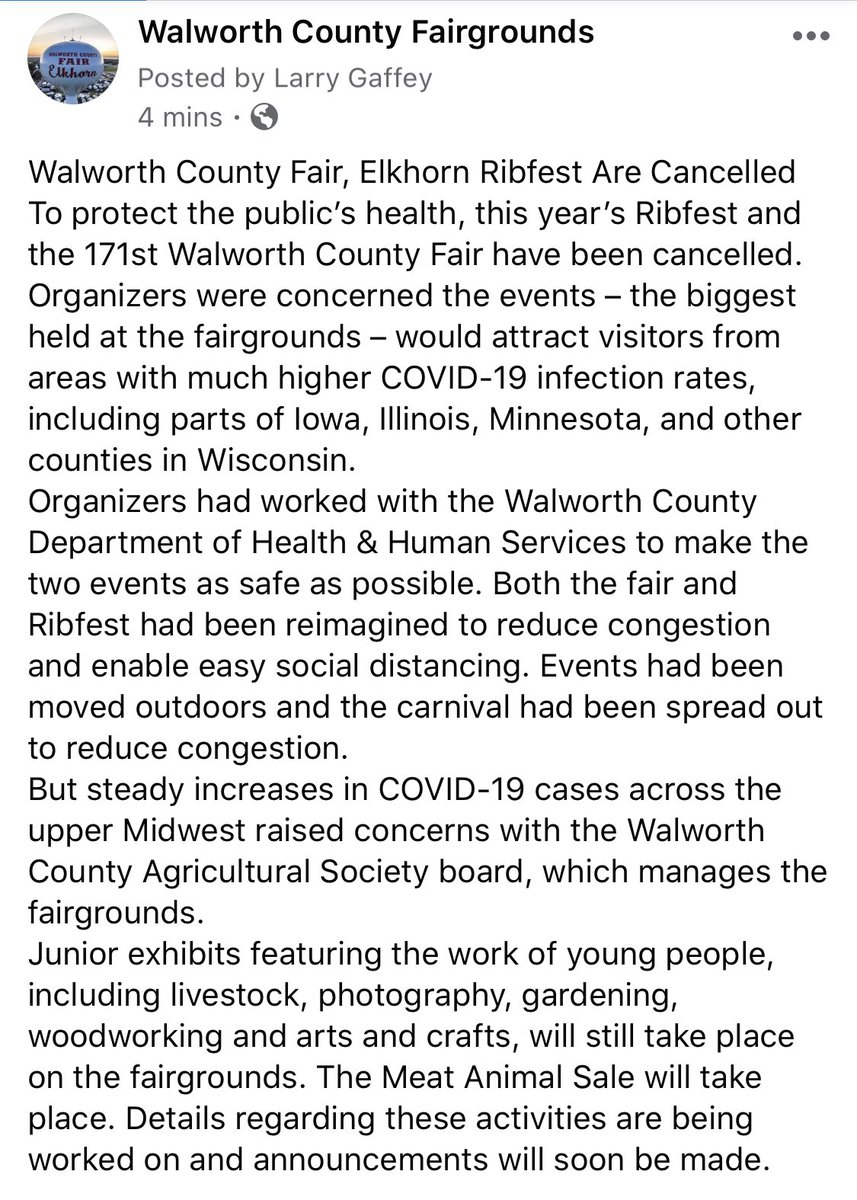 IMPORTANT NOTICE regarding #walcofair2020  and #elkhornribfest2020 #walworthcountyfairgrounds #elkhornwi #fairstrong https://t.co/SQv2IGWsow