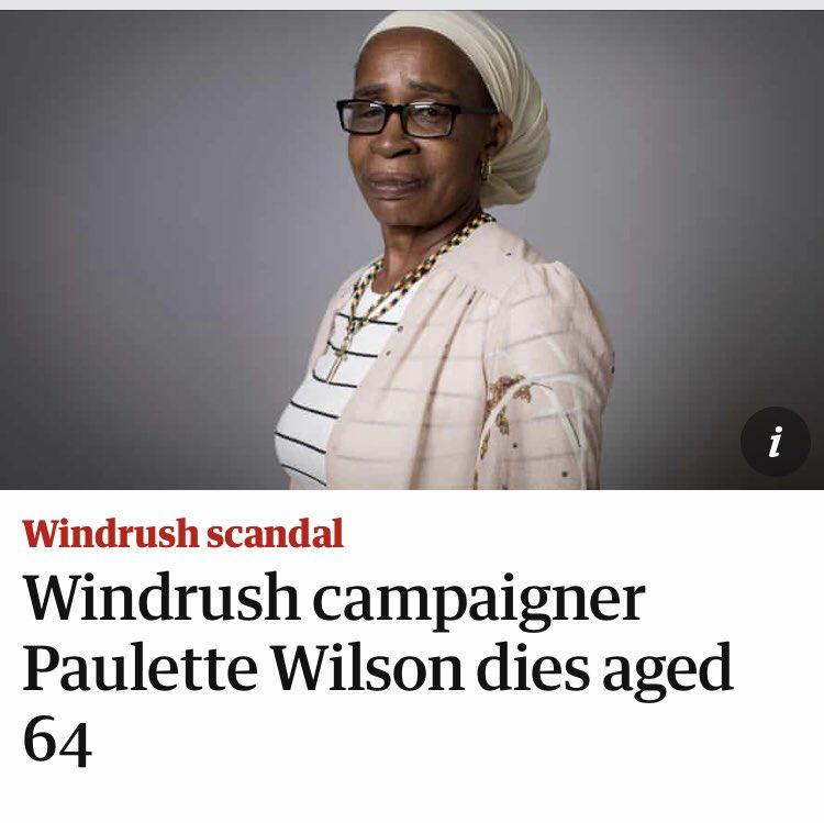Sad but this lady was paramount in redressing this terrible scenario #RIP #Paulettewilson #Windrush #windrushscandal #windrushday2020 #WindrushGeneration #BlackLivesMattterUK