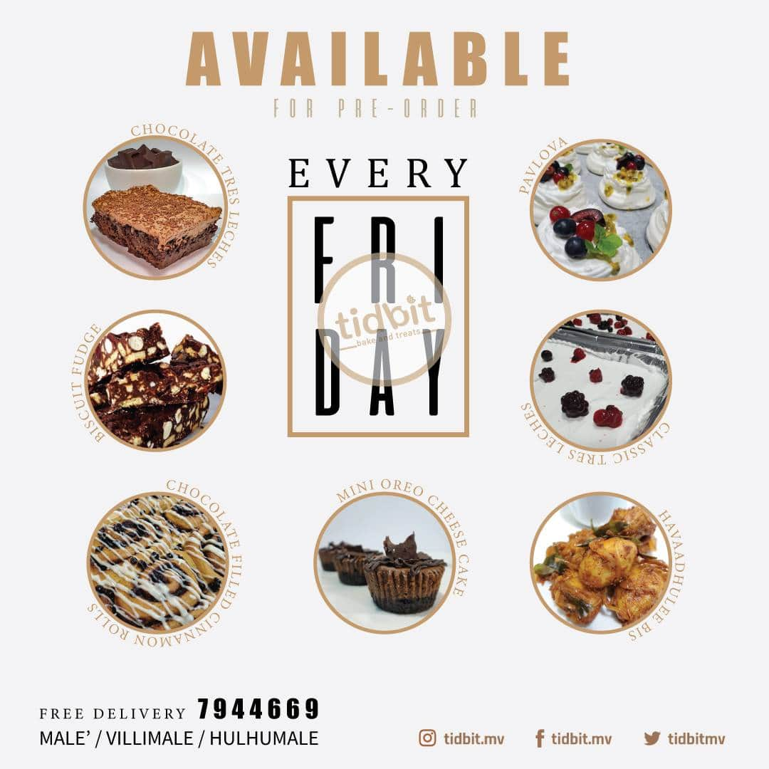 Make your fridays extra special with our most popular items.  #tidbit #tidbitmv #tidbitbakers #maldives #villimale #hulhumale #foodie #food #chocolate #sweet #dessert #love #bake #cravings #whipping #delicious #heavenly https://t.co/lOrrXii0fv