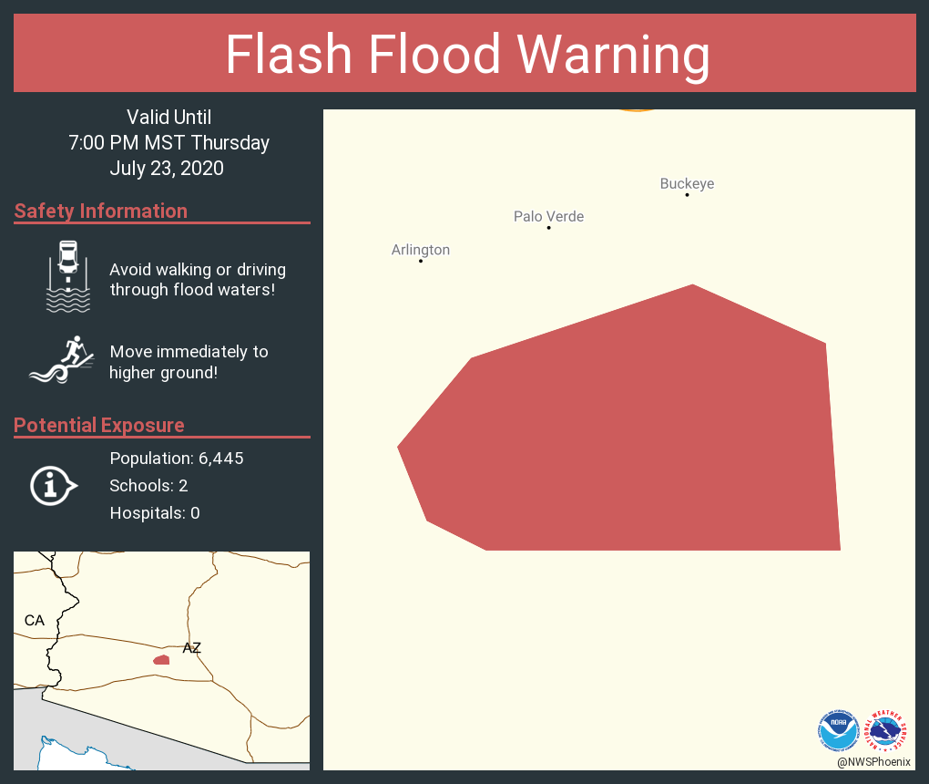 Flash Flood Warning continues for Maricopa County, AZ until 7:00 PM MST