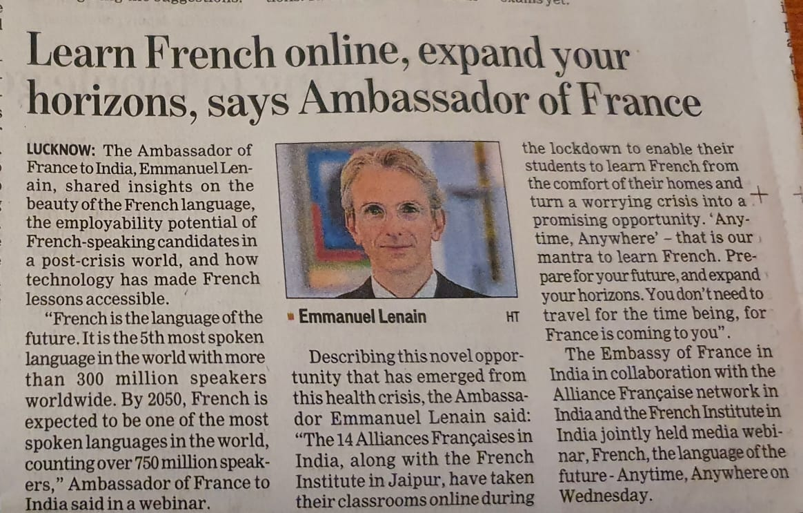 Learn French online, expand your horizons says @FranceinIndia. The 14 Alliances Françaises in India, along with the French Institute in Jaipur, have taken their classrooms online, turning a crisis into a promising opportunity. #ChooseFrench #eLearning