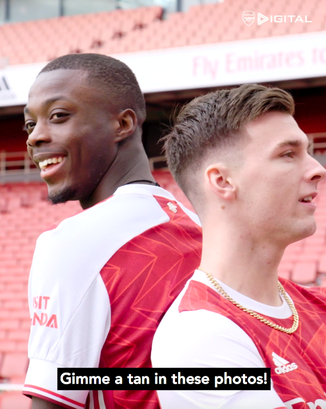 "🤣 ""Gimme a tan in these photos!""  📺 Take a look behind the scenes of the adidas x Arsenal shoot at Emirates Stadium for the launch of our new 20/21 home kit"