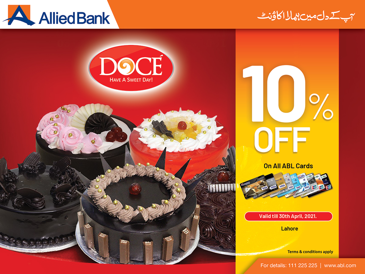 Satisfy your sweet cravings with flat 10% discount available on all #ABLCards at Doce. Terms & Conditions apply. For details visit  https://t.co/0qbeOAF88h  #cardoffers #ABLDiscounts #CardDiscount #Discounts #DebitCard #CreditCard #PrepaidCard https://t.co/SYvn1CofJ2