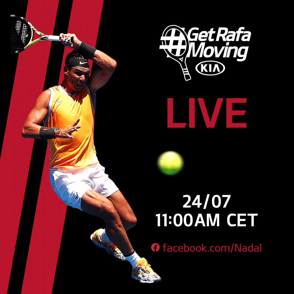 Jump over to Rafa's facebook page (https://t.co/mv4MR11iFb) for virtual courtside seats and start calling the shots as well.   We'll be LIVE with @RafaelNadal from 11:00 CET #Kia #KiaTennis #Nadal #GetRafaMoving https://t.co/bM6LwOPY5x