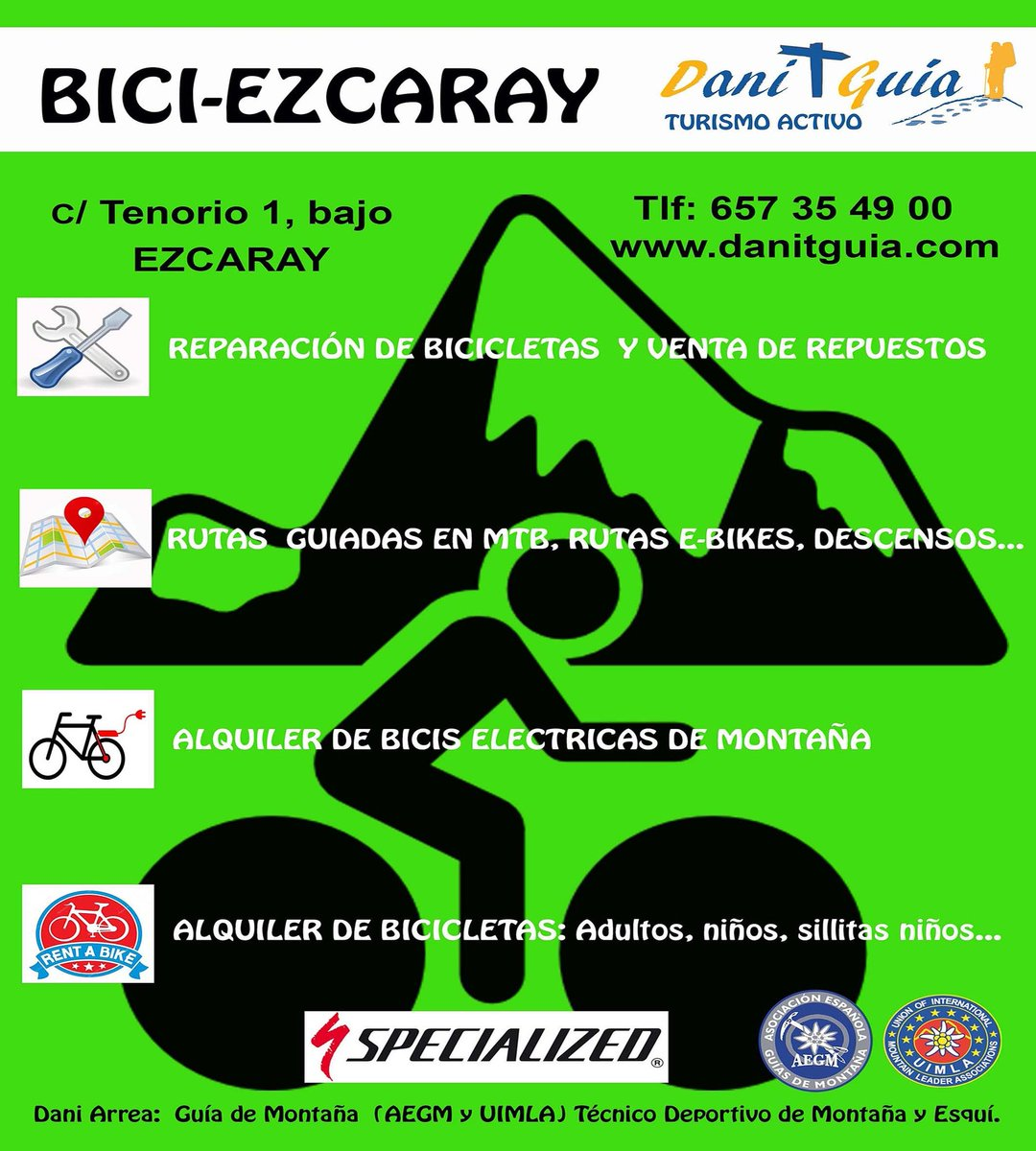 Si quieres disfrutar de la #bicicleta en #Ezcaray  confía en profesionales, confía en DaniTguia #alquilerdebicicletas Rutas guiadas en MTB, Reparación y venta de repuestos #biciselectricas https://t.co/HvxRs7Lvr8 @info_ezcaray #ebikes #guiasdemontaña #mtb #mtbguide  #specialized https://t.co/AcmoyxeN7q