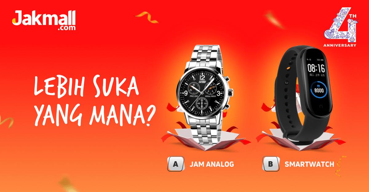 Mimin mau kumpulin Jakmallers pecinta jam tangan. Sini sini! Kasih tau Mimin dong, kamu lebih suka Jam Tangan Analog atau Smartwatch? Share di kolom komentar ya  _ #Jakmall #PastiUntung #JamTangan #smartwatch #jualjamtangan #jualsmartwatch #miband5 #skmeijamtanganpic.twitter.com/ApnIETVnxO