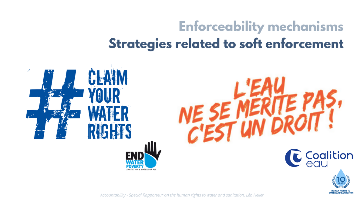 Human rights institutions, ombudspersons, NGOs and civil society organizations play a crucial role in ensuring compliance, as they put pressure on Governments to provide remedies. See @EndWaterPoverty #ClaimYourWaterRights and @EauDroit #LeauEstUnDroit