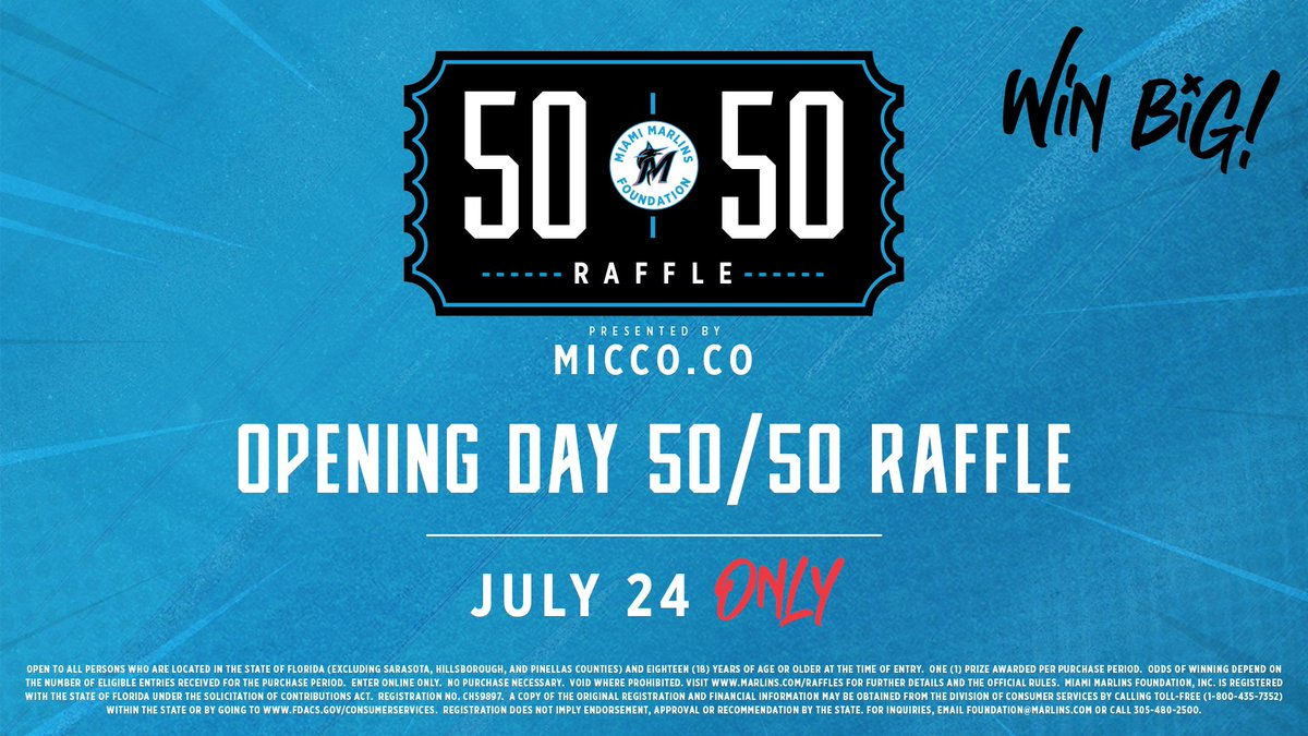 Happy #OpeningDay, Miami! Visit marlins.com/raffle for your chance to win BIG. Closes at tonight at 9:30PM ET.