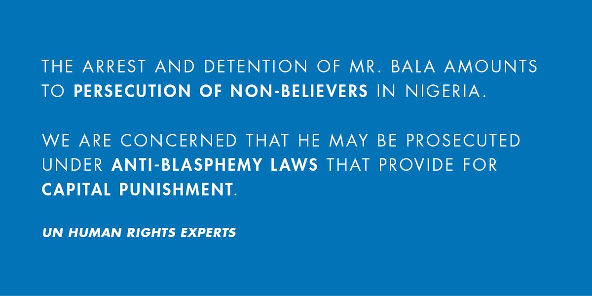 🇳🇬 #Nigeria: UN experts call on the Nigerian authorities to immediately release prominent humanist and #HumanRights defender Mubarak Bala, detained without charge on accusations of blasphemy, a potential capital offence. Learn more: ow.ly/fhP850AHauD