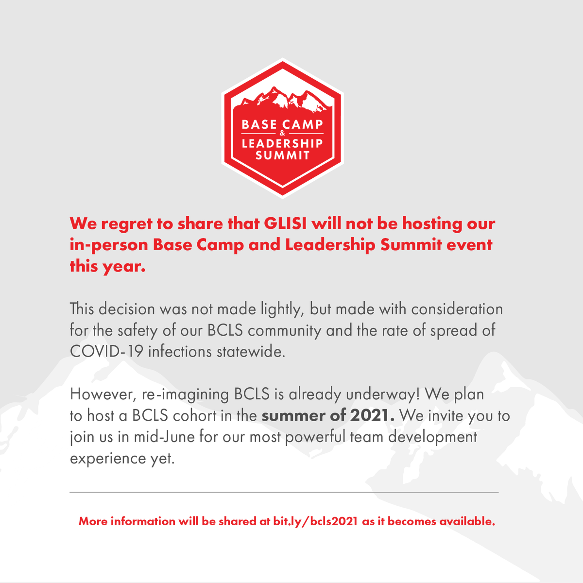 Important Announcement Regarding the 2020-2021 Base Camp and Leadership Summit season: