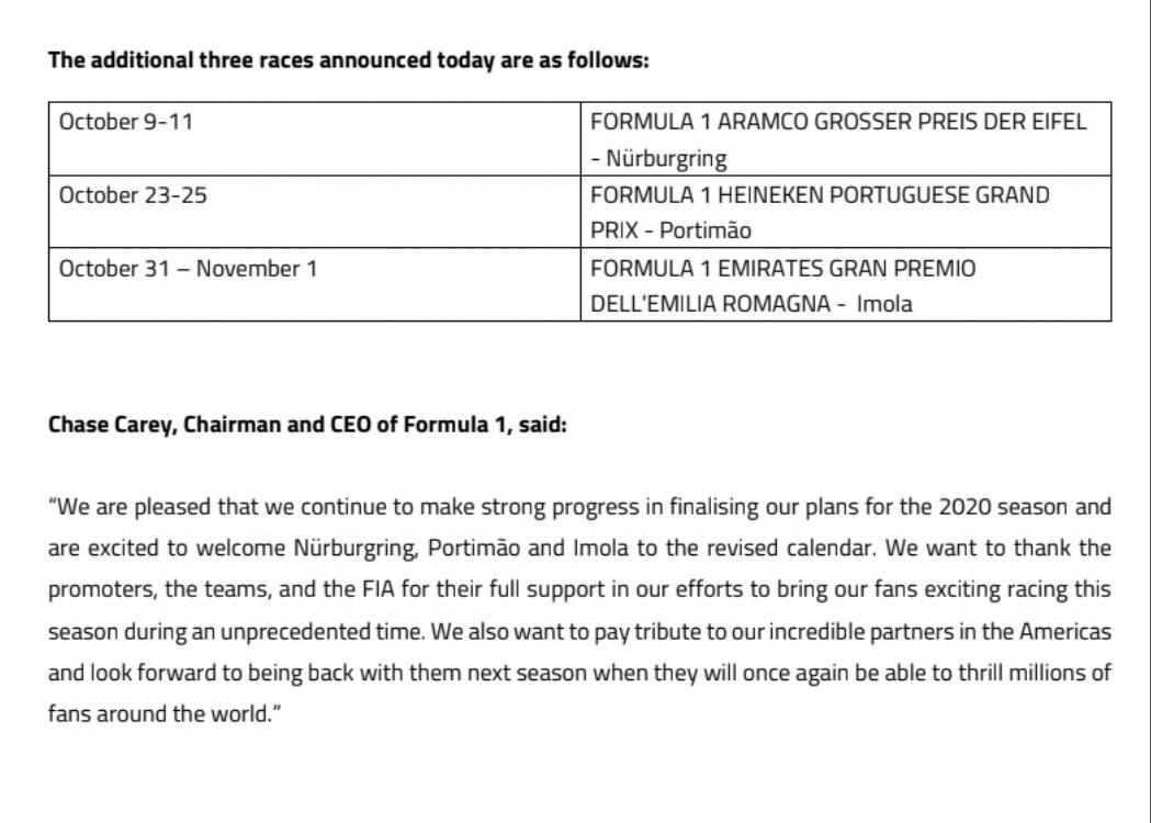 Het is officieel 3 races erbij op de kalender F1 2020 https://t.co/ogTTVMgAtL