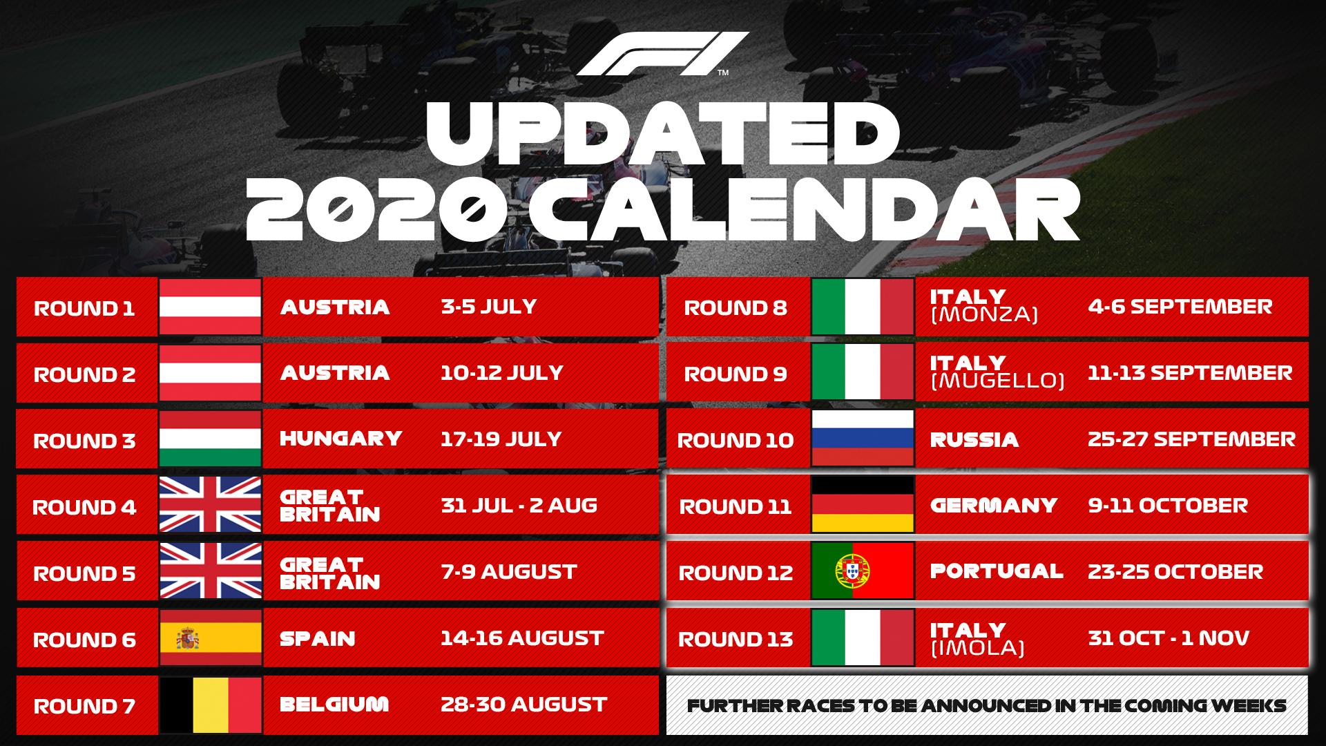 F1 Updated 2020 Calender