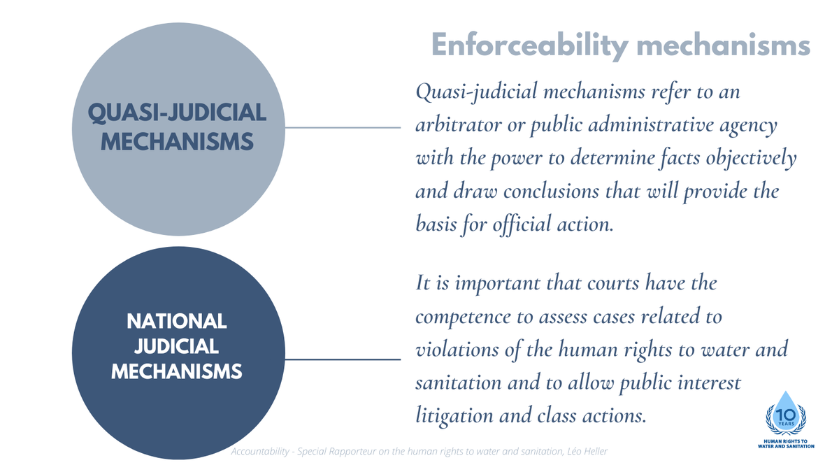 Ensuring the justiciability of the human rights to water and sanitation is a key part of enforceability. So is the entire justice system, including quasi-judicial mechanisms. #HRWASH2020